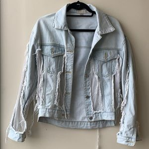 36 Point 5 mesh distressed denim jacket